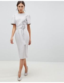 Asos Design Midi Pencil Dress With Belt by Asos Collection