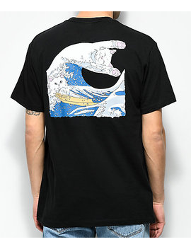 Ripndip The Great Wave Of Nerm Black T Shirt by Ripndip
