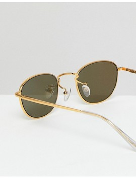Asos 90 S Small Oval Sunglasses In 9ct In Rose Gold Flash Lens by Asos Collection