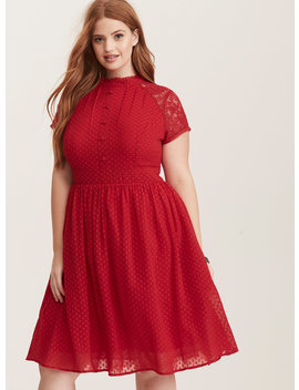 Red Textured Dot Chiffon & Lace Button Front Swing Dress by Torrid