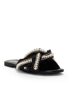 Jessica Simpson Rhondalin Crystal Satin Pearl Embellishment Chain Detail Slide Sandals by Jessica Simpson