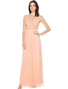 Sleeveless Bead Gown With Shear Waistband by Adrianna Papell