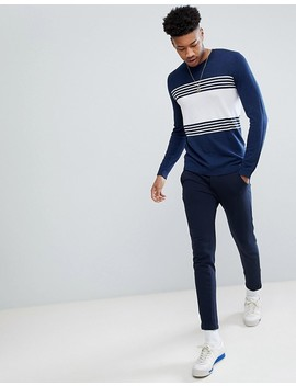 Asos Tall Striped Cotton Sweater In Navy by Asos