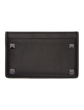 Black Valentino Garavani Rockstud Card Holder by Valentino