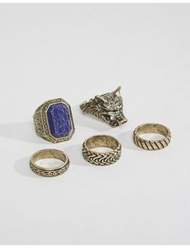 Asos Design Oversized Ring Pack In Burnished Gold With Wolf And Stone by Asos
