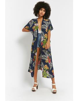 Floral Open Front Longline Kimono by Forever 21