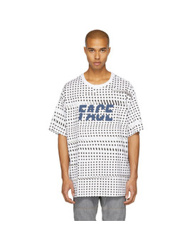 White & Black Oversized Dot Face T Shirt by Facetasm