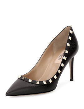 Rockstud Leather 85mm Pump by Neiman Marcus