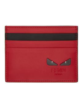 Red & Black 'bag Bugs' Card Holder by Fendi