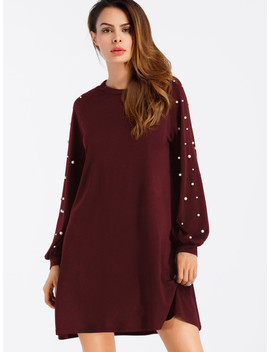 Pearl Beaded Raglan Sweatshirt Dress by Sheinside