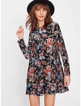 Flower Print Swing Velvet Dress by Shein