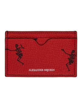 Red Dancing Skeleton Card Holder by Alexander Mcqueen