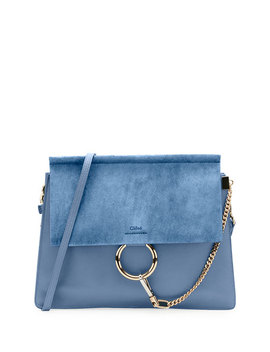 Faye Medium Leather & Suede Shoulder Bag by Neiman Marcus