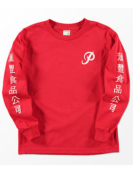 Primitive X Huy Fong Boys Long Sleeve Red T Shirt by Primitive Skateboarding
