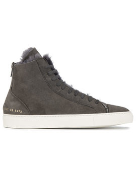 Grey Tournament Suede Shearling Hi Top Sneakers by Common Projects