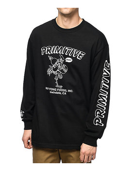 Primitive X Huy Fong Saucy Black Long Sleeve T Shirt by Primitive Skateboarding