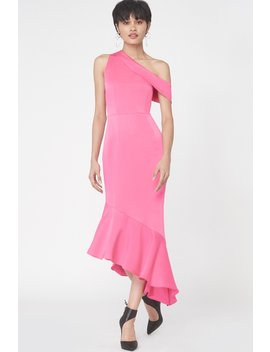One Shoulder Asymmetric Hem Dress In Fuchsia Pink Satin by Lavish Alice