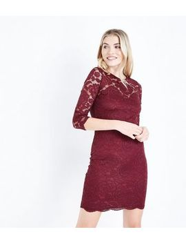 Burgundy Floral Lace Bodycon Dress by New Look