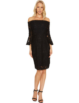 Off The Shoulder Lace Sheath Dress With Flared Sleeve by Adrianna Papell