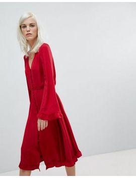 Asos   Robe Fluide Mi Longue Boutonnée Avec Encolure En V by Asos Collection