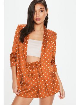 Orange Polka Dot Gathered Sleeve Blazer by Missguided