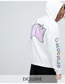 Crooked Tongues X Lucas Beaufort Hoodie With Back And Sleeve Prints In White by Crooked Tongues