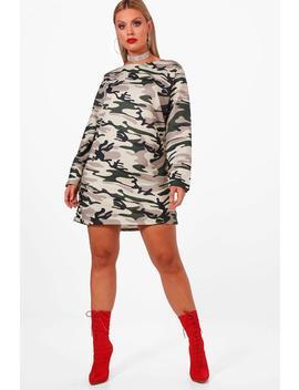 Plus Kerry Camo Sweat Dress by Boohoo
