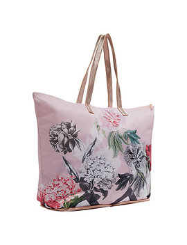 Ted Baker Leanna Palace Gardens Foldaway Shopper Bag, Dusky Pink by Ted Baker