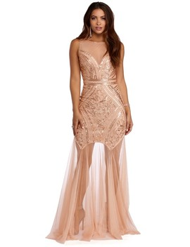 Katie Gold Sequin And Tulle Mermaid Dress by Windsor