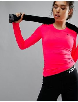 Nike Pro Training Long Sleeve Top In Pink by Nike