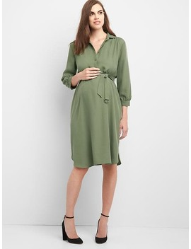 Maternity Three Quarter Tie Belt Shirtdress by Gap