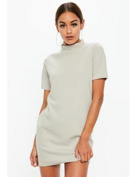 Gray High Neck Short Sleeve Shift Dress by Missguided