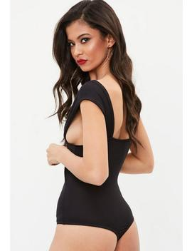 Black Wrap Front Cut Out Side Bodysuit by Missguided