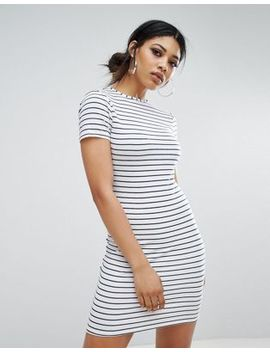 Daisy Street Bodycon T Shirt Dress In Fine Stripe by Daisy Street