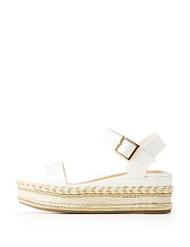 Bamboo Faux Leather Metallic Platform Two Piece Sandals by Charlotte Russe