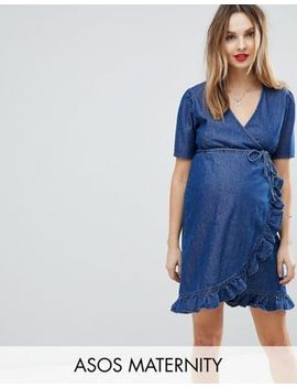 Asos Maternity Denim Wrap Dress In Darkwash Blue by Asos Maternity