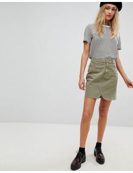 Asos Denim Pelmet Skirt In Khaki by Asos Design