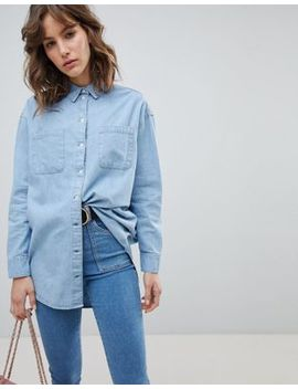 Asos Denim Oversized Shirt In Midwash Blue by Asos Collection