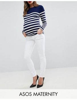 Asos Maternity Ridley High Waist Skinny Jeans In Optic White With Under The Bump Waistband by Asos Maternity