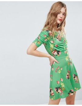 Asos Mini Tea Dress With Rouching Detail In Green Floral Print by Asos Collection