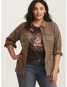 Brown Twill Utility Jacket by Torrid