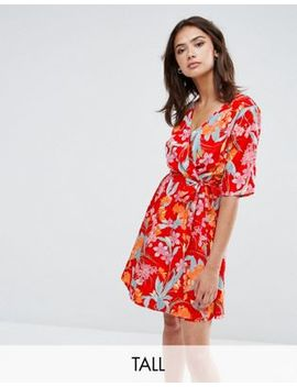 New Look Tall Flare Sleeve Wrap Dress by New Look Tall