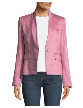 Orchid Chambray Upcollar Jacket by Veronica Beard