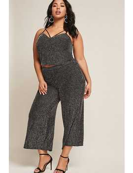 Plus Size Metallic Stripe Capri Pants by Forever 21