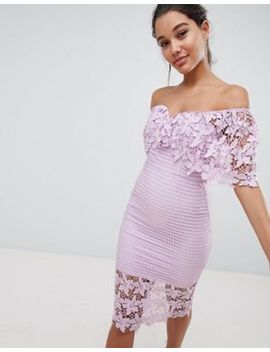 Love Triangle Off The Shoulder Cutwork Lace Pencil Dress by Love Triangle