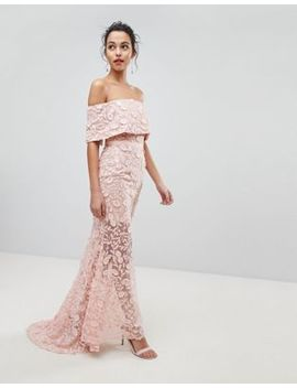Jarlo All Layered Bardot All Over Embroidered Lace Maxi Dress by Jarlo