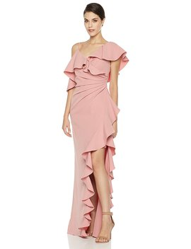 Social Graces Women's Asymmetrical Shoulder Waterfall Ruffle Evening Gown by Social Graces