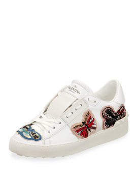 Open Butterfly Embroidered Sneaker by Valentino Garavani