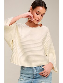 Claudel Ivory Ribbed Sweater Top by Jack By Bb Dakota