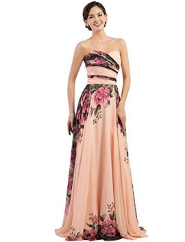 Grace Karin Floral Print Graceful Chiffon Prom Dress For Women (Multi Colored) by Grace Karin